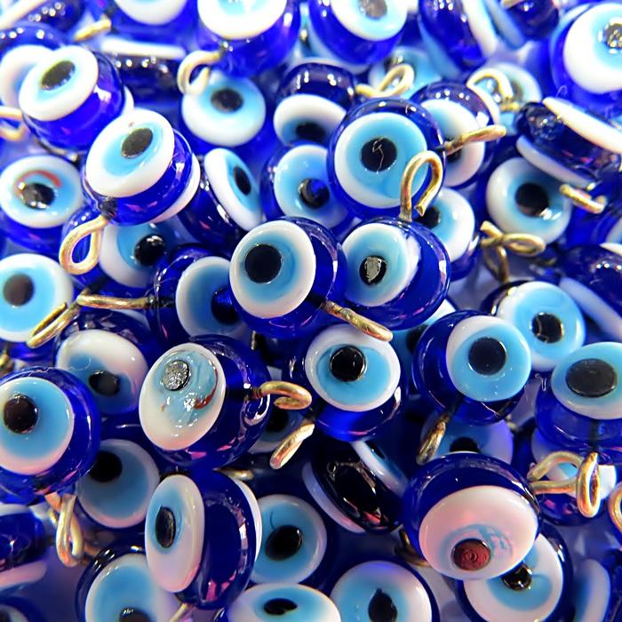 Olho grego achatado pingente azul�o/ turquesa pequeno- (10 unidades)- OGP020