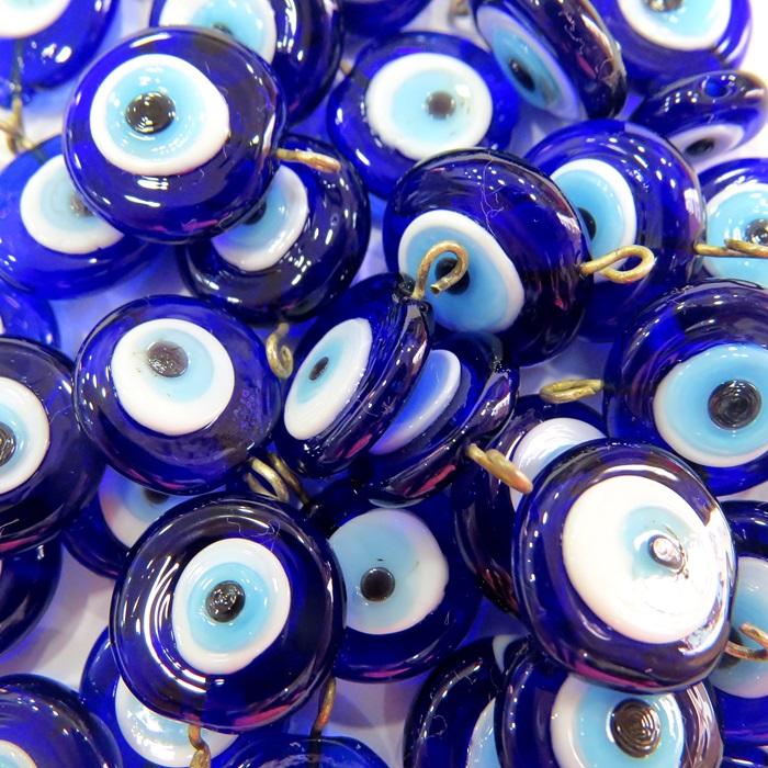 Olho grego achatado pingente azul�o/ turquesa grande (100 unidades)- OGP021 ATACADO