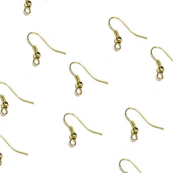 Base de brinco Dourada Anzol latão (10 pares)- AND001