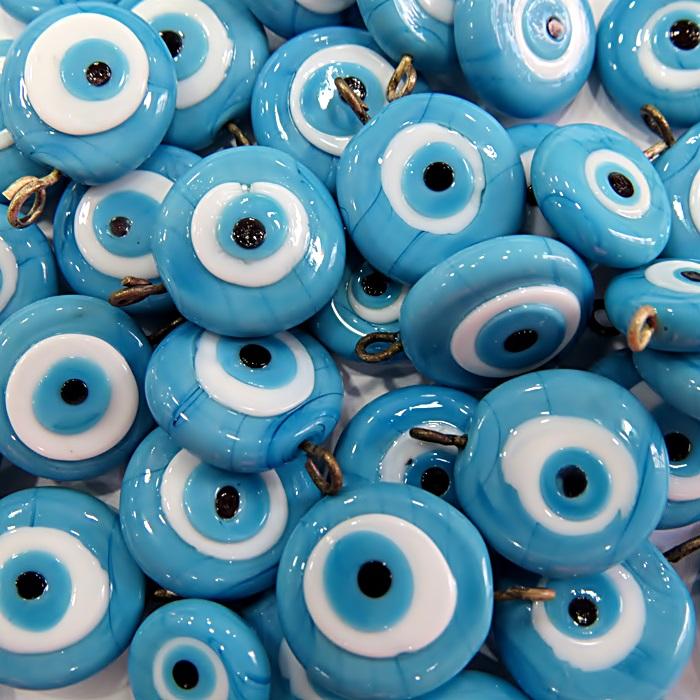 Olho grego achatado pingente azul turquesa/ turquesa grande- (100 unidades)- OGP024 ATACADO