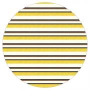 Tapete Saturs Listrado Redondo Amarelo 140 cm Tapete para Sala e Quarto