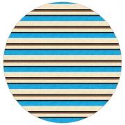 Tapete Saturs Listrado Redondo Azul 140 cm Tapete para Sala e Quarto