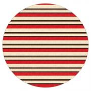 Tapete Saturs Listrado Redondo Vermelho 140 cm Tapete para Sala e Quarto