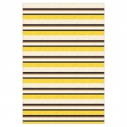 Tapete Saturs Moderno Listrado Amarelo 140 x 300 cm Tapete para Sala e Quarto