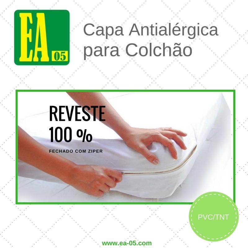 Capa antialérgica para colchão - impermeável - Casal - PVC/TNT - 138x188x25 cm - com zíper  - Espaço do Alérgico