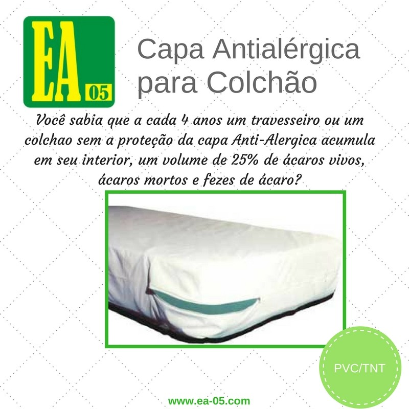 Capa antialérgica para colchão - Impermeável - solteiro - PVC/TNT - 78x188x15 cm - com zíper  - Espaço do Alérgico