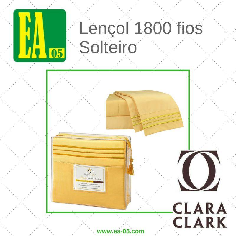Lençol 1800 fios - Conjunto Premium Clara Clark - Solteiro/TWIN - Amarelo  - Espaço do Alérgico