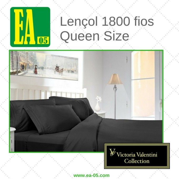 Lençol 1800 fios - Victoria Valentini Collection - Queen Size - Preto