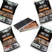 Kit Completo Smoker + 4 Unidades de Lascas de Lenha de Madeira Para Defumação Woods Chips - 4 KG