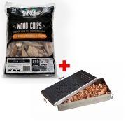 Kit Smoker Defumador + Lascas de Lenha de Madeira Para Churrasqueira à Gás