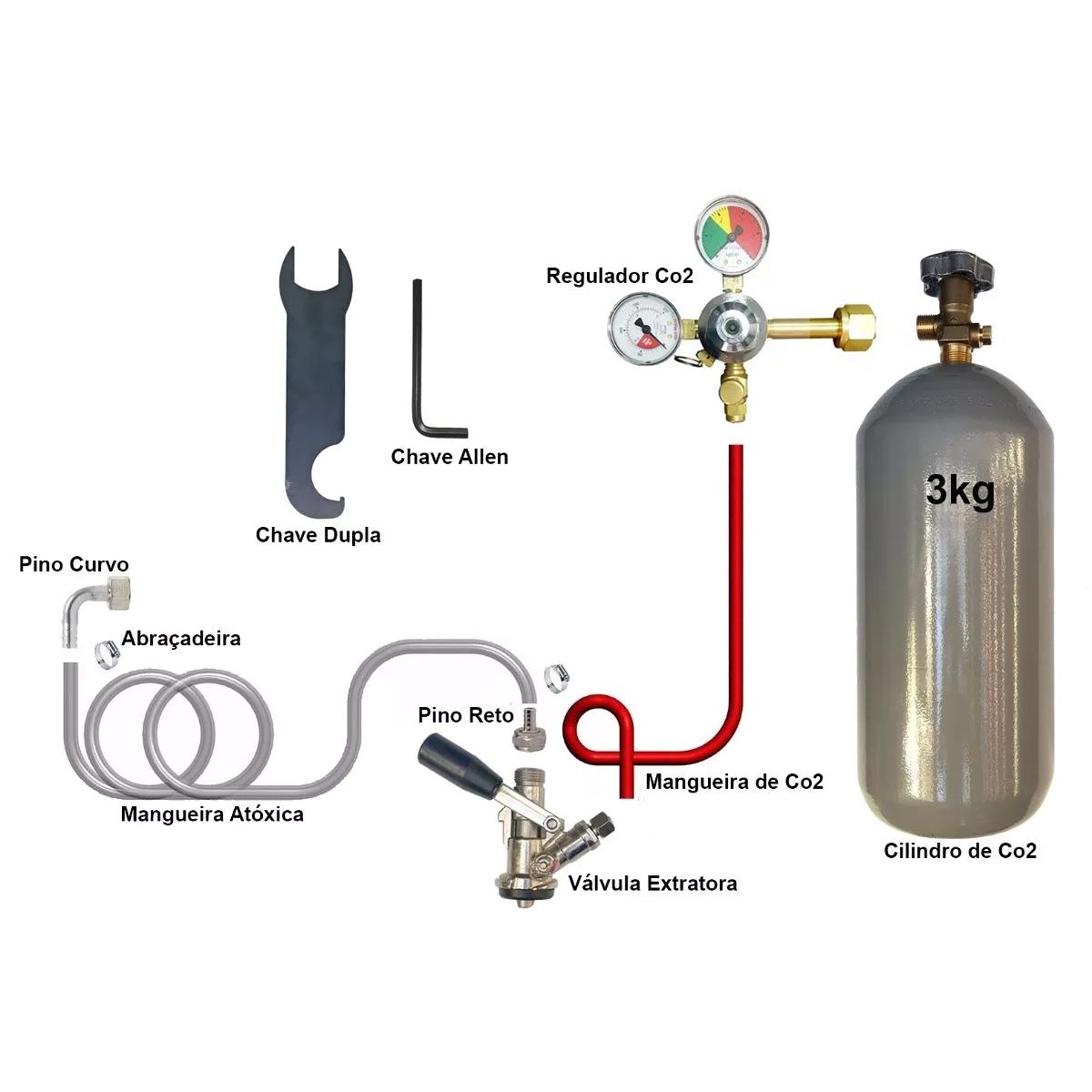 Aparador Vidro ~ Kit Extraç u00e3o 1 Via Completo Para Chopp Ou Cerveja Artesanal