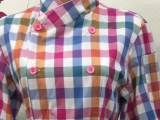 Dólmã Cecília Feminino Acinturado Xadrez colorido vivo e botão rosa 100% Algodão