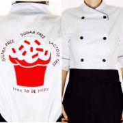 Dólmã Cecília Feminina  Acinturada BRANCA CUP CAKE RED VELVET GLUTEN FREE com vivo e botões PRETOS  Sarja Leve 100% algodão Manga 3/4