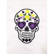 Dólmã Clássico Unissex BRANCO MEXICAN SKULL  com vivo e botões pretos 100% algodão