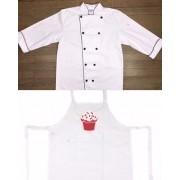KIT: Dólmã Clássico Unissex BRANCO com vivo e botões PRETOS 100% algodão manga 3/4 + AVENTAL BRANCO RED VELVET