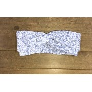 HEAD BAND BRANCA FLOR AZUL