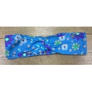 Head Band Azul Flor Roxa e Verde