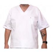 Camisa Pijama Cirúrgico BRANCO Masculino PLUS SIZE  Camisa e Calça com Tecido 100% algodão
