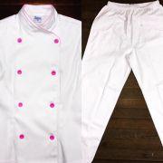 Conjunto Dólmã Cecília Feminino Acinturado BRANCA Vivo Rosa com botões ROSA Sarja Leve 100% algodão + Calça Branca
