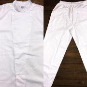 Conjunto Dólmã Clássico Unissex BRANCO com vivo Branco e Botões Brancos - 100% algodão manga 3/4 + Calça Branca 100% Algodão