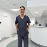 Conjunto pijama cirúrgico Scrub unissex Ariel Jean azul 100% algodão