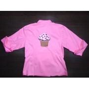 Dólmã Cecília Feminina Acinturada ROSA BROWN PINK CUPCAKE com vivo PINK e botões GREY HEART Sarja Leve 100% algodão