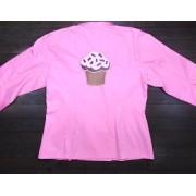 Dólmã Cecília Feminina Acinturada ROSA BROWN PINK CUPCAKE e botões GREY HEART Sarja Leve 100% algodão