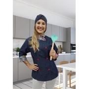 Dólmã Cecília Feminino Acinturado Jeans/ floral rosa e azul Manga 3/4