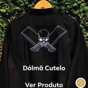 Dólmã Cecília Feminino Acinturado PRETO CUTELO BRANCO  com vivo e botões pretos Sarja Leve 100% algodão Manga 3/4