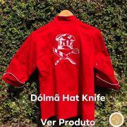 Dólmã Cecília Feminino Acinturado Vermelho Hat Knife BRANCO com vivo e botões BRANCOS Sarja Leve 100% algodão