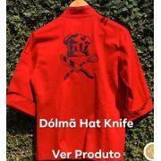 Dólmã Cecília Feminino Acinturado Vermelho Hat Knife PRETO  com vivo e botões PRETOS Sarja Leve 100% algodão