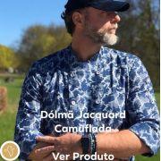 Dólmã Classico UNISSEX  Camuflado Jeans Jacquard Botões CINZA 100% Algodão Manga 3/4