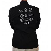 Dólmã Clássico  UNISSEX PRETO CHEF HATS BRANCO com vivo e botões brancos 100% algodão manga 3/4