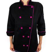 Dólmã Clássico Unissex PRETO com vivo PINK e botões PINK  - 100% algodão manga 3/4