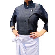 Dólmã Grace Feminina Jeans  (Abotoamento Pressão)- Sarja 100% algodão