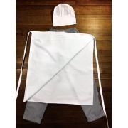 Conjunto Avental 4 Frentes 100% algodão BRANCO bordada + Calça com elástico total pied poule + Chapéu Chef 100%algodão