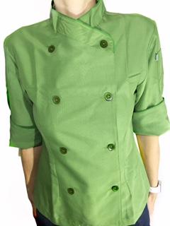 Dólmã Cecília Feminino Acinturado Microfibra Fina (100% poliéster) Verde Oliva com vivo e botões verdes