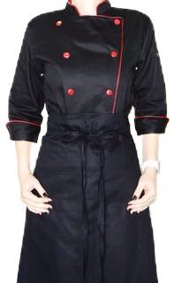 Dólmã Clássico Unissex PRETO SKULL CHEF com vivo e botões vermelhos - 100% Algodão manga 3/4