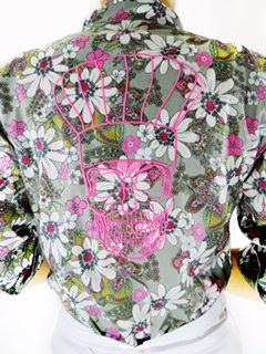 Dólmã Cecília Feminina Skull ROSA Flowery 100% algodão