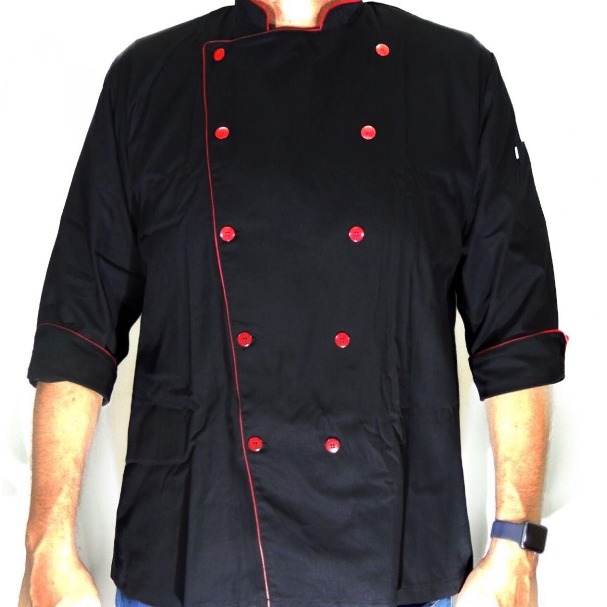 Dólmã Clássico Unissex PRETO Red Beater com vivo e botões vermelhos 100% Algodão