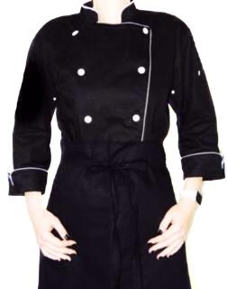 Dólmã Clássico Unissex PRETO HAT KNIFE CHEF com vivo e botões brancos - 100% Algodão manga 3/4