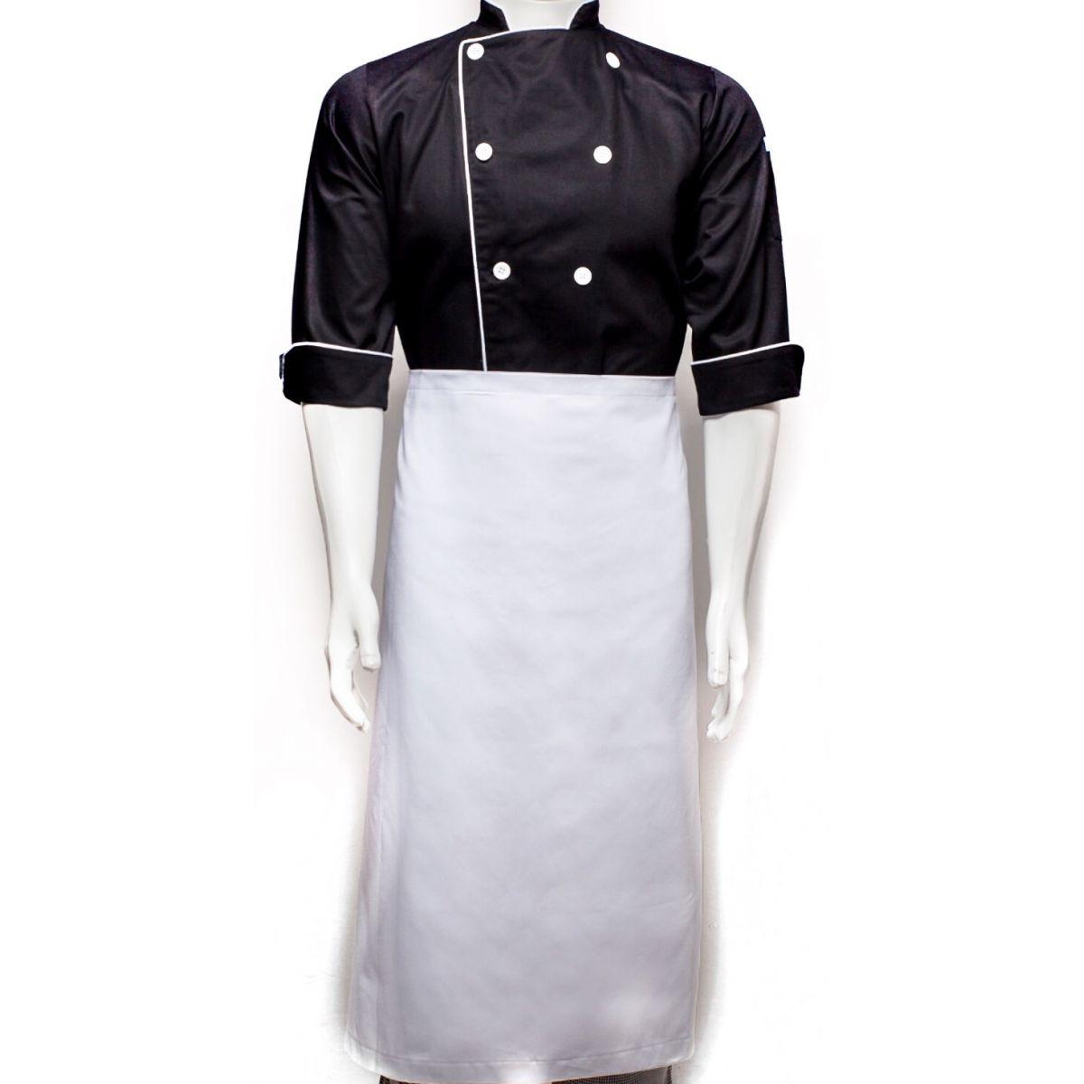 Dólmã Clássico Unissex PRETO SKULL KNIFE CHEF com vivo e botões brancos - 100% algodão manga 3/4