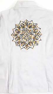 Dólmã Clássico Unissex Branco Botões Vivo Preto Bordado Mandala Colorida Clássica 100% Algodão