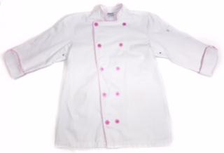 Dólmã Clássico Unissex BRANCO Patches com vivo ROSA e botões ROSA 100% algodão manga 3/4