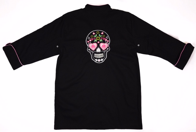 Dólmã Cecília Feminino Acinturado PRETO MEXICAN SKULL com vivo e botões pretos Sarja Leve 100% algodão Manga 3/4