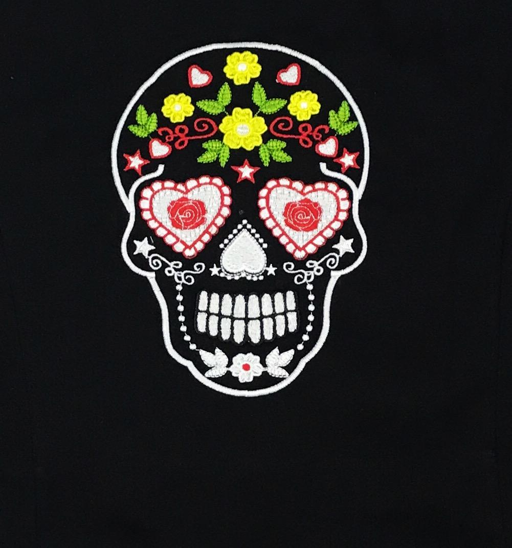 Dólmã Cecília Feminino Acinturado PRETO MEXICAN SKULL COLOR com vivo e botões Vermelhos Sarja Leve 100% algodão Manga 3/4