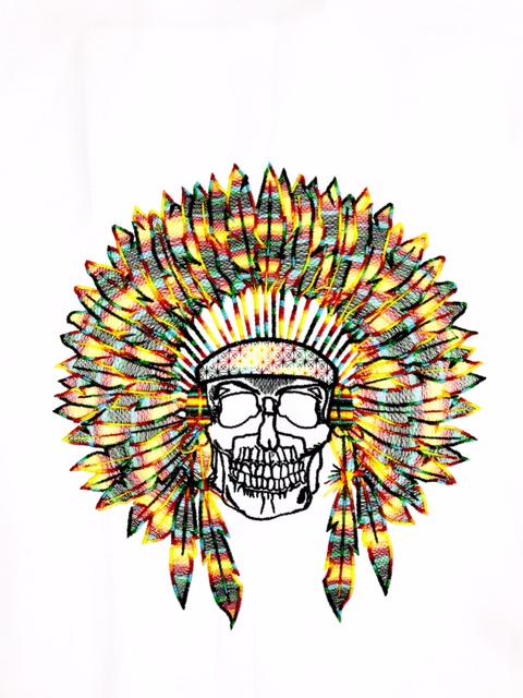 Dólmã Clássico Unissex BRANCO SKULL INDIAN COCAR COLORIDO CHEF  com vivo e botões PRETOS 100% algodão manga 3/4