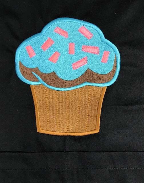 Avental Albory CUPCAKE BLUE SKY PRETO +Chapéu CUPCAKE BLUE SKY PRETO 100% Algodão