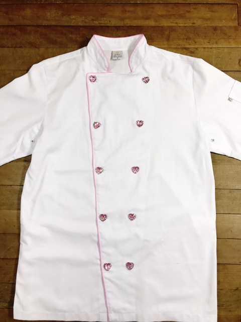 Dólmã Clássico Unissex BRANCO com vivo ROSA e botões PINK HEART - 100% algodão manga 3/4