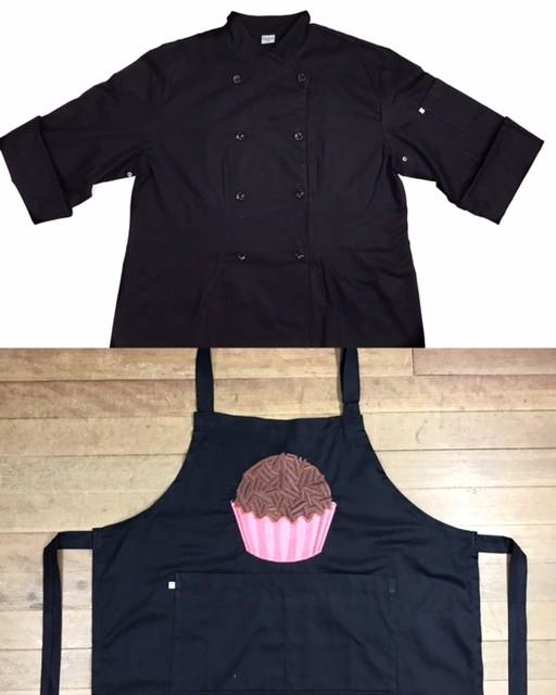 Dólmã Cecilia Preto Acinturado com vivo e botões PRETOS - 100% algodão manga 3/4 +AVENTAL PRETO BRIGADEIRO PINK SHINE